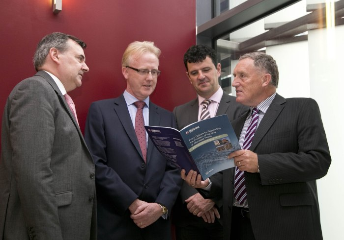 Society Chartered Surveyors Ireland (SCSI) New Housing Report Breakfast Briefing. Policy Options for Supporting the Provision of Housing at Affordable Prices Report, which took place Chartered Accountants House, Pearse Street.Pictured were from left: David Silke, Director of Research and Corporate Affairs in the Housing Agency, Andrew Nugent, President SCSI, Dr. Kieran McQuinn from the ESRI, and Tony Foley, from DCU Business School. Picture Colm Mahady / Fennells - Fennell Photography Copyright 2015