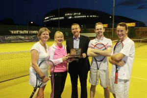 27/08/2015 - Image from the Irish Times  Society of Chartered Surveyors Tennis Tournament.  Pictured are members of the Winning Savills Team Nessa Keane; Anne Kiernan; Peter Dargan (Irish Times); Conor Steen and Gerry McCarthy.  Picture Nick Bradshaw