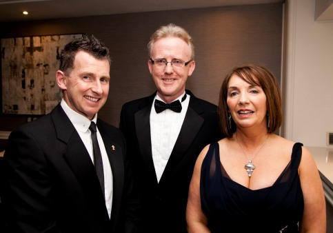 The Society of Chartered Surveyors Ireland Annual Dinner, Double Tree Hotel, Dublin. Pictured were: International referee Nigel Owens, Andrew Nugent President SCSI and Patrica Byron, DG SCSI. Picture Colm Mahady / Fennells - Copyright©Fennell Photography 2016