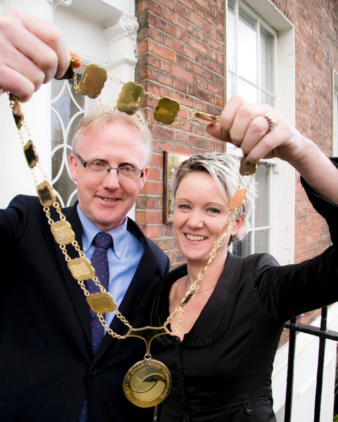 Pictured: Immediate Past President Andrew Nugent and newly Elected President, Claire Solon holding the Chain of Office.