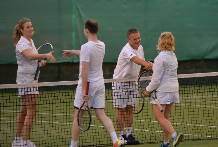 31/08/2016 -- Christine McGowan and Nick Kelly from CBRE Winners shake hands with Conor Steen and Vonny Kelly from Hooke& McDonald in the Mixed Doubled Final at The Irish Times Society of Chartered Surveyors Tennis Tournament. in Donnybrook Lawn Tennis Club. Photograph: Alan Betson / The Irish Times