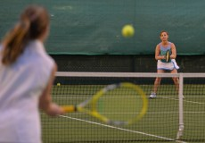 31/08/2016 -- Jacqui McCabe from Knight Frank in action against the CBRE team in the Ladies Final at The Irish Times Society of Chartered Surveyors Tennis Tournament. in Donnybrook Lawn Tennis Club. Photograph: Alan Betson / The Irish Times