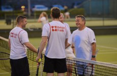 31/08/2016 -- Michael Keane and Darren O'Shaughnessy from Knight Frank congratulate winners John Ryan and Kick Kelly from CBRE after the mens final at The Irish Times Society of Chartered Surveyors Tennis Tournament. in Donnybrook Lawn Tennis Club. Photograph: Alan Betson / The Irish Times