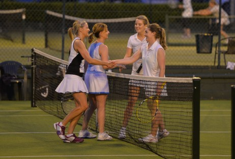 31/08/2016 -- Rena O'Kelly and Jacqui McCabe from Knight Frank and Christine McGowan and Aoife Reilly from CBRE shake hands after the Ladies Final at The Irish Times Society of Chartered Surveyors Tennis Tournament. in Donnybrook Lawn Tennis Club. Photograph: Alan Betson / The Irish Times