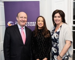 Tom Dunne, Head of the School of Surveying and Construction Management, DIT, Roisin McGrenra and Áine Myler, SCSI Director General