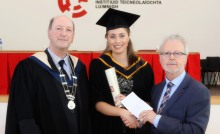 XX  4/11/2016  Carlo Hanrahan, Education Officer Southern Branch SCSI (right) and  Michael Mooring, Chair of SCSI Southern Branch present graduating student Laura O'Donnell from Castlebar a Bursary.  Laura was conferred in LIT on Friday with a BSc(Honours) in Property Valuation and Management.   Photograph Liam Burke Press 22