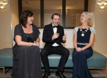 No Repro Fee. Aine Myler, Director General of the Society of Chartered Surveyors Ireland (left) with Ardal O'Hanlon and Carol Solan President of the Society of Chartered Surveyors Ireland (right), pictured at the Society of Chartered Surveyors Ireland Annual Dinner 2017 held in the Clayton Hotel, Dublin. Pic. Conor McCabe Photography