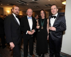 Patrick King (left) with Tom Parlon, Carol Pollard and Shane Coleman, pictured at the Society of Chartered Surveyors Ireland Annual Dinner 2017 held in the Clayton Hotel, Dublin.