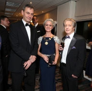 Dave O'Brien (left) with Claire Solan and Paul Dunne, pictured at the Society of Chartered Surveyors Ireland Annual Dinner 2017 held in the Clayton Hotel, Dublin.