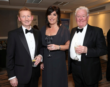 Matt Howell (left) with Aine Myler and Stephen Vernon, pictured at the Society of Chartered Surveyors Ireland Annual Dinner 2017 held in the Clayton Hotel, Dublin.