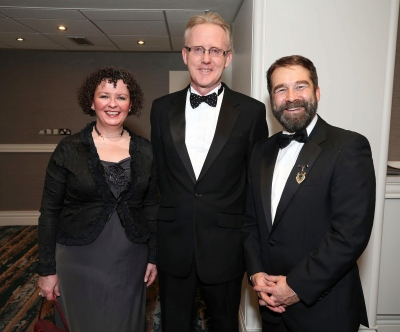 Karol Jackson (left) with Andrew Nugent and Ed Carey, pictured at the Society of Chartered Surveyors Ireland Annual Dinner 2017 held in the Clayton Hotel, Dublin.