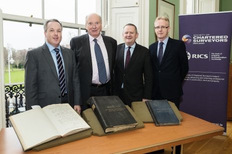 L-R: Colin Bray, SCSI Senior Vice President, Michael Webb, IAA Chairman, Des O'Broin, SCSI Second Vice President, Andrew Nugent, SCSI Past President