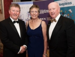 Sean and Geraldine Canney and Pat Carter, Sligo IT Chairman SCSI West Branch at the Society of Chartered Surveyors of Ireland West branch Annual Dinner 2017 at the Ardilaun Hotel, Galway. Photo:Andrew Downes.