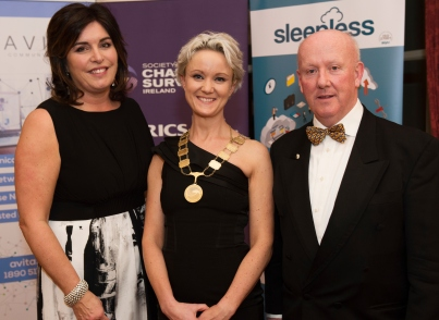 Aine Myler, DG SCSI, Claire SOLON President SCSI and Pat Carter Chairof the Western Branch SCSI at the SCSI, Society of Chartered Surveyors of Ireland West branch Annual Dinner 2017 at the Ardilaun Hotel, Galway. Photo:Andrew Downes.