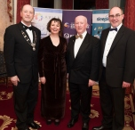 Michael Moore, Karol Jackson Chair South East Region SCS, Pat Carter Chair of the Western Branch SCSI and Shane O Hanlon North East SCSI branch at the SCSI, Society of Chartered Surveyors of Ireland West branch Annual Dinner 2017 at the Ardilaun Hotel, Galway. Photo:Andrew Downes.
