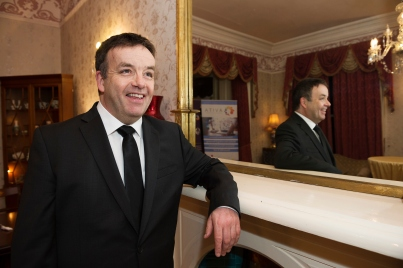 Comedian John Colleary at the SCSI, Society of Chartered Surveyors of Ireland West branch Annual Dinner 2017 at the Ardilaun Hotel, Galway. Photo:Andrew Downes.