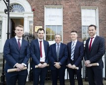 At the Society of Chartered Surveyors Ireland graduation ceremony on 7th April were from left Rory Gaughan, Declan Morley, Colin Bray, Senior Vice President S.C.S.I. Larry Maguire and Paul Barrett
