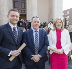 At the Society of Chartered Surveyors Ireland graduation ceremony on 7th April were from left Stephen Doyle, Colin Bray, Senior Vice President S.C.S.I. and Louise Doherty.