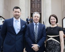 At the Society of Chartered Surveyors Ireland graduation ceremony on 7th April were from left Danny Jenkins, Colin Bray, Senior Vice President S.C.S.I. and Brigid Browne.