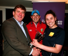 Winning Captain Jennifer Warren of Savills with David Rowe SCSI and John Nolan of Walls Constructions (Sponsors)
