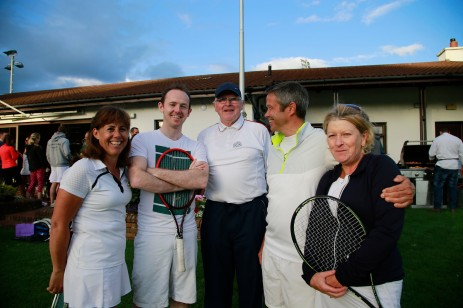 30/08/2017 - PROPERTY - Image from the 2017 SCSI Irish Times Tennis Tournament 30th August in Donnybrook Tennis Club. Pictured are Hooke & MacDonald's Maeve Cantwell; Conor Steen; Ken MacDonald; David Cantwell and Vonny Kelly. Photograph Nick Bradshaw