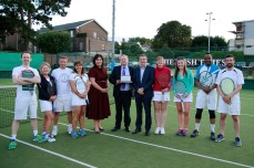 30/08/2017 - PROPERTY - Image from the 2017 SCSI Irish Times Tennis Tournament 30th August in Donnybrook Tennis Club. Ladies and mens finalists (from left) team Hooke & McDonald's Conor Steen; Maeve Cantwell; David Cantwell and Vonny Kelly with Áine Myler, director general of the Society of Chartered Surveyors Ireland ; Des O'Brion, SCSI; Peter Dargan, Irish Times and the Irish Times' team, Fiona Flood; Kate Cafferky; Lincoln Nelson and Martin Murphy. Photograph Nick Bradshaw