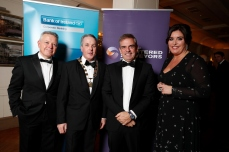 Paul McDonnell, Bank of Ireland, SCSI President Colin Bray pictured with Paul McGinley and SCSI Director General Aine Myler